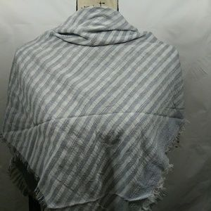 White and silver neck square scarf